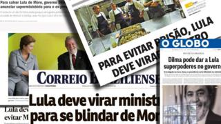 Composite of Brazilian front pages