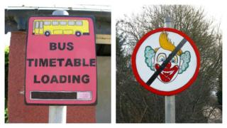 Bus timetable loading and clown signs