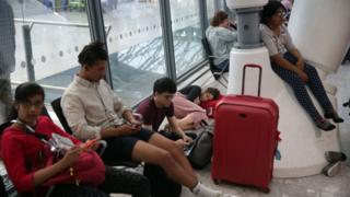 Passengers stranded at airport