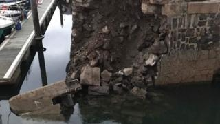 Banff harbour collapse