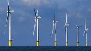 Wind turbines off the Sussex coast