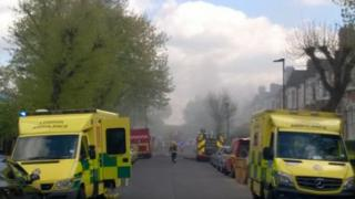 Scene of the house fire in Stroud Green