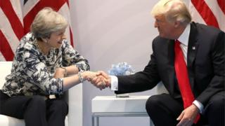 Theresa May and Donald Trump shake hands