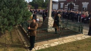 Commemoration in France to mark the centenary of the 16th Irish Division's involvement in the Battle of the Somme.