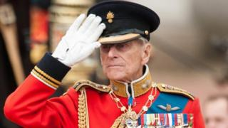 The Duke of Edinburgh inspecting troops outside Buckingham Palace during the annual Trooping the Colour parade, in 2012