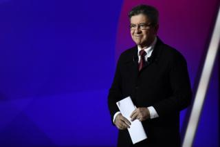 Jean-Luc Melenchon arrives on the set of the studios of French television channel France 2 in Saint-Cloud, Paris, 20 April