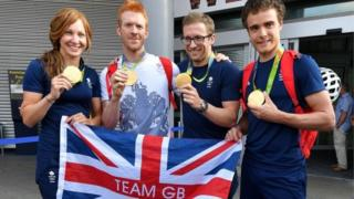 Joanna Rowsell Shand, Ed Clancy, Jason Kenny, Steven Burke arrive back from Rio de Janeiro, at Manchester Airport.