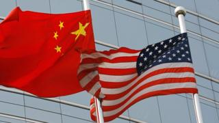 Chinese and US flag - file photo