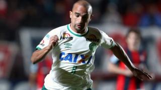 Gil, of Brazil's Chapecoense, in action during a match against Argentina's San Lorenzo in Buenos Aires, Argentina, on 2 November