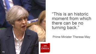 Theresa May saying: This is an historic moment from which there can be no turning back