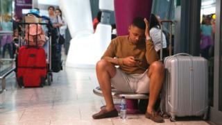 Delayed traveller at Heathrow