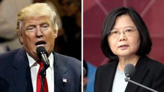 "This combination of two photos shows U.S. President-elect Donald Trump, left, and Taiwan""s President Tsai Ing-wen"