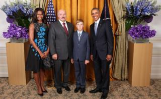 Belarus President Alexander Lukashenko and his son Kolya pose with the Obamas at a reception in honour of the United Nations General Assembly, 28 September 2015