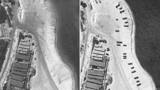 今月3日(左)と14日(右)に撮影されたウッディー島の衛星写真