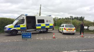 Police at the junction with Smiths Lane, Goudhurst