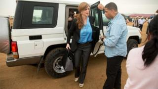 Samantha Power, centre, arrives at Minawao Refugee Camp in northern Cameroon, Monday, April 18, 2016
