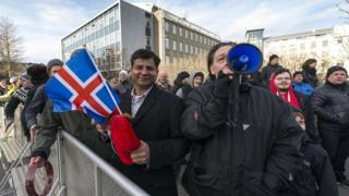 Icelandic rally urging EU referendum, 24 Feb 2014