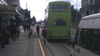 Cyclist near tram tracks in Sheffield