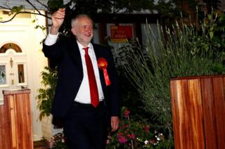 Jeremy Corbyn, Labour Party leader, leaves his home on his way to his constituency counting centre in London, 9 June 2017.