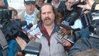 Kirk Jones speaks to the media as he leaves court on October 23, 2003, in St Catherine's, Ontario