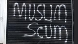 Anti-Islamic graffiti at Turkish kebab takeaway on Beersbridge Road , Belfast, 29 June 2017