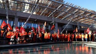 BiFab workers at Scottish Parliament