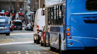 Bus sitting in Glasgow traffic