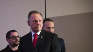 BIRMINGHAM, AL - NOVEMBER 16: Republican candidate for U.S. Senate Judge Roy Moore listens to a question during a news conference