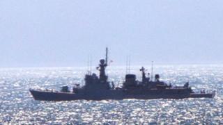 السفينة الحربية الإسبانية إنفانتا كريستينا في المياه الإقليمية لجبل طارق