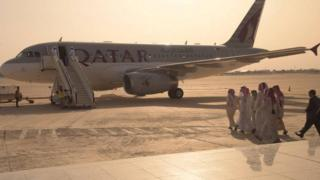 Former Qatari hostages depart Baghdad International Airport in Iraq en route to Doha, 21 April 2017
