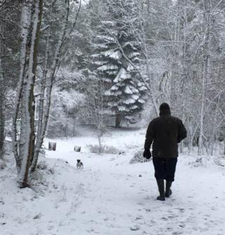 Tom Davidson from Inverurie enjoys a winter wonderland walk in Granton on Spey