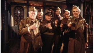 The cast of the BBC sitcom Dad's Army in 1977