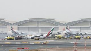 Emirates Airline flight after it crash-landed at Dubai International Airport