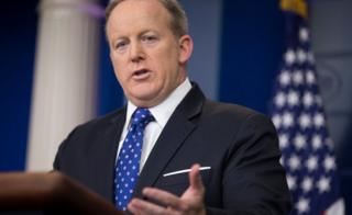 White House Press Secretary Sean Spicer responds to a question from the news media during the daily press briefing in the Brady Press Briefing Room at the White House in Washington, DC, USA, 09 May 2017.