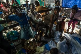 A small clinic in Rendel, Haiti overflowing with Cholera patients