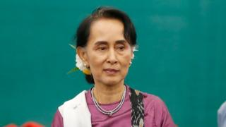 Myanmar's State Counsellor Aung San Suu Kyi leaves after speaking during the Myanmar Education Development Implementation Seminar at Myanmar International Convention Center (MICC - 2), in Naypyitaw, Myanmar, 8 December 2017