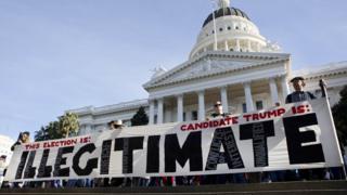 Протесты против избрания Трампа в Сакраменто