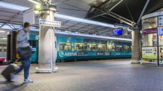 A train in a station