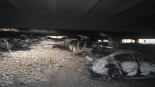 Vehicles destroyed by fire