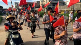 資料圖片:烏坎村村民今年六月舉行遊行