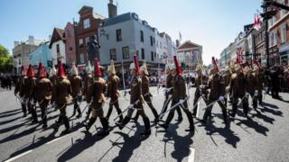Military personnel takes part in rehearsals for the wedding of Britain's Prince Harry and Meghan Markle in Windsor.