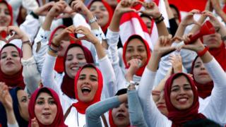 Women watch Egypt play Congo in a 2018 World Cup Qualifier in Stadium, Alexandria, Egypt - 08/10/2018
