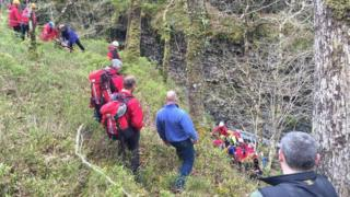 Rescuers at gorge