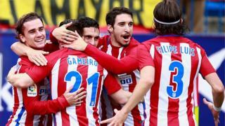 Les joueurs de l'Atletico Madrid jubilant après un but marqué