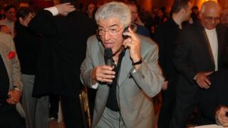 Actor Frank Vincent sings while attending the celebration for Frank Vincent's new book 'A Guy's Guide To Being a Man's Man' at Capitale 8 March, 2006 in New York