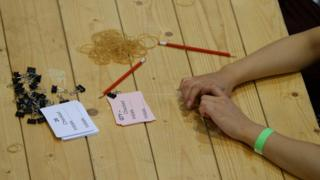 A counter waits for ballot boxes to arrive at the Lindley Hall, Royal Horticultural Halls, London