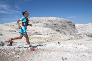 Mira Rai running in the Dolomites