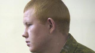 Conscript Russian soldier Valery Permyakov in court at military base in Gyumri, 12 Aug 15
