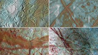 Quatro imagens da superfície de Europa