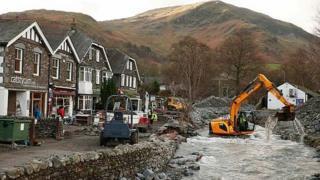 Storm Desmond damage in Glenridding